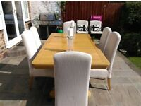 **Cousins** Oak Table and Six White Chairs