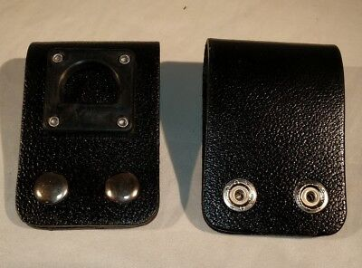 Vintage New Black Leather Police Radio D-clip - Belt Holder For A Holster