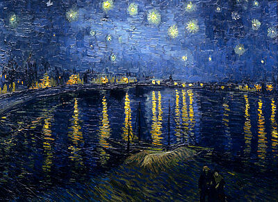 (VAN GOGH - Starry Night over the Rhone - *FRAMED* CANVAS ART - 24x16