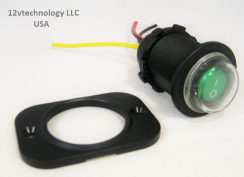 Waterproof Round Rocker Toggle Switch Panel Socket SPST Marine On-Off 12V Green