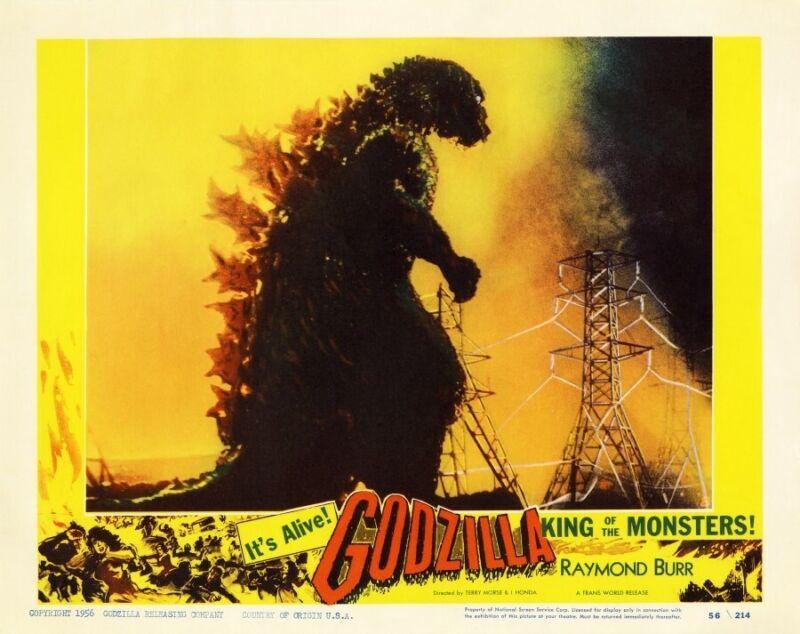 Godzilla POSTER  *RARE Artwork*  Japanese MONSTER Sci Fi LARGE - AMAZING COLORS