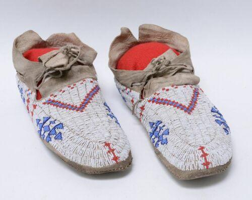 "Full Beaded Cheyenne Indian Hide Moccasins,;  c. 1890 ; 10"" long"