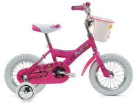 "Reduced! Giant Li'l' Puddin' Pink Bike, 12"" wheels. Stabilisers, basket. Age 3+"
