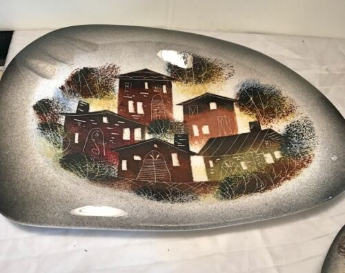 SASCHA BRASTOFF ROOFTOPS COLLECTION MOUNTAIN CABIN SIGNED ASHTRAY VG