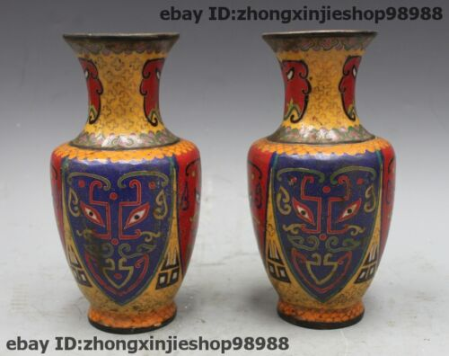 Chinese Bronze Cloisonne Enamel Facebook statue Bottle Pots Vase Pair