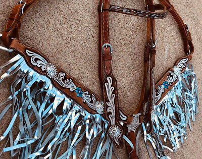Western Horse Bling! Leather Tack Set Bridle Headstall + Breast Collar w/ Fringe ()