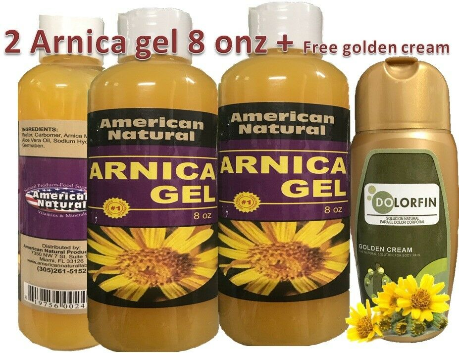 2 ARNICA MONTANA GEL 8 Oz PAIN RELIEF BRUISES MUSCLE ACHES CREAM POMADA NATURAL