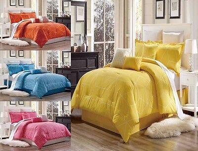 Cotton Comforter Duvet Set - 3PC GEOMETRIC/SOLID DUVET COVER SET FOR COMFORTER BED SOFTEST COVERLET MODERN