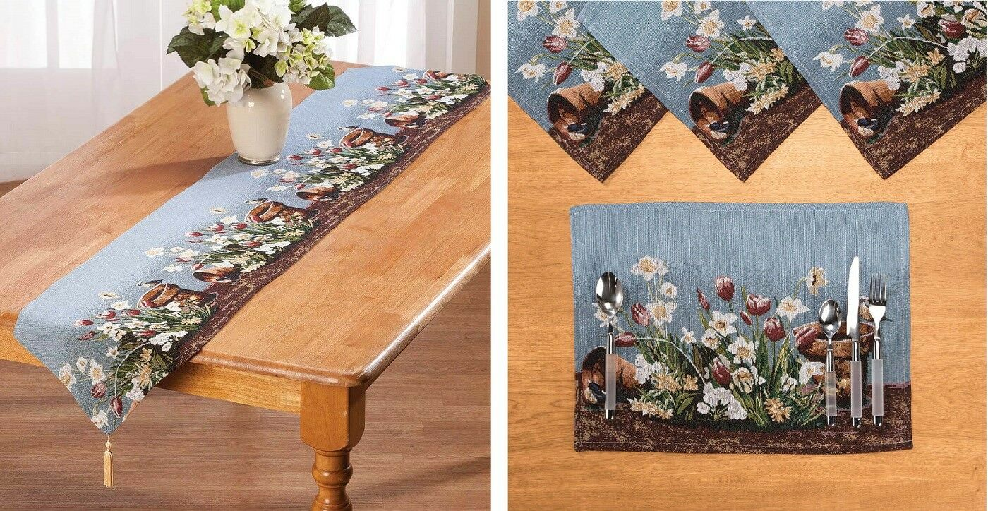 Spring Floral Fabric Table Linens Placemat Runner Easter Kit