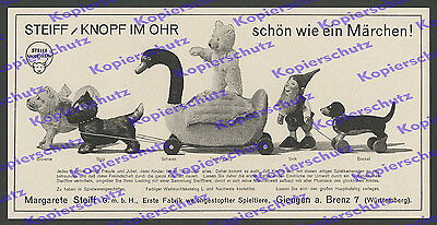 or. Reklame STEIFF Spielzeug Stofftiere Schwan Zwerg Puppen Märchen Giengen 1929