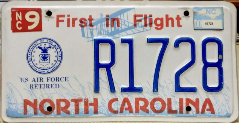 2000 NORTH CAROLINA US Air Force Retired MILITARY License Plate