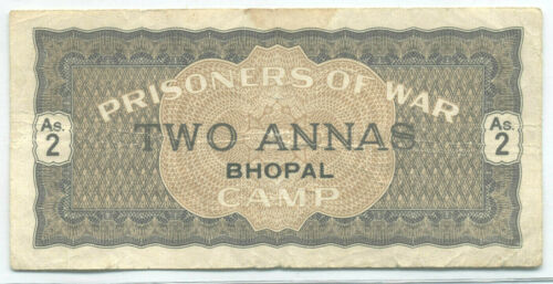 WW2 PRISONERS OF WAR CAMP BHOPAL INDIA 2 ANNAS (RARE) CH VF+
