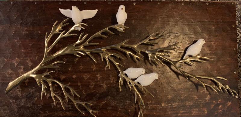 "RARE BIJAN 80 3D SIGNED CERAMIC ""BIRDS ON BRASS TREE "" WALL SCULPTURE"