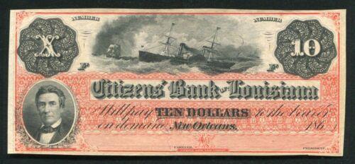 "1860's $10 CITIZENS' BANK OF LOUISIANA NEW ORLEANS, LA OBSOLETE ""DIX"" NOTE UNC"