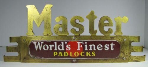 "Old Brass Art Deco MASTER Locks Store Display Adv Sign ""World"