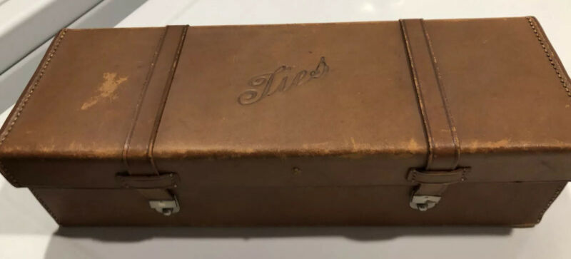 Vintage Leather Tie Box