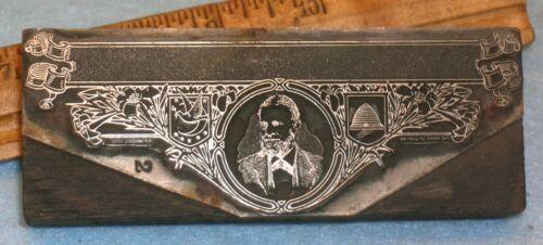 "Antique IOOF REBEKAH LODGE LETTERHEAD 4"" Zinc Print Block SCHUYLER COLFAX MB033"