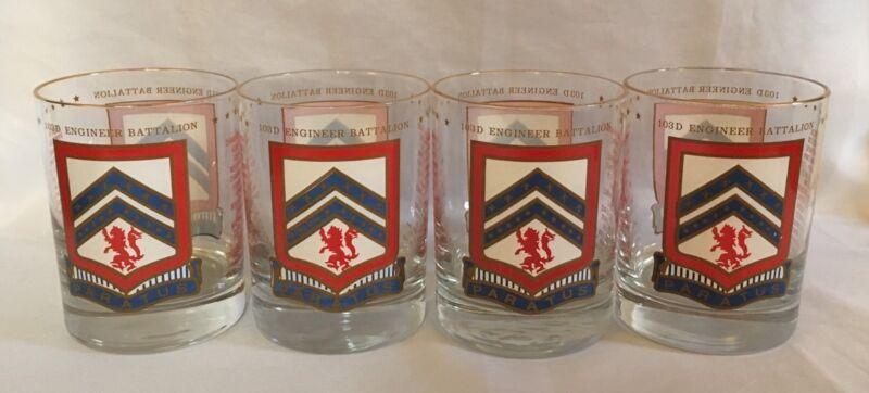 103D Engineer Battalion - US Army Drinking Glasses - Paratus - Set Of 4 - RARE