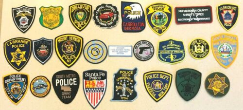 LQQK *(25)* TWENTY-FIVE ALL DIFFERENT U.S. POLICE MIXED LOTS PATCHES  PATCH j A