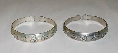 A couple Old chinese Hand-Carved Tibetan Silver Zodiac signs longevity bracelet