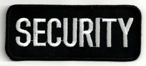 SECURITY - WHITE on BLACK - IRON or SEW ON PATCH