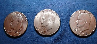 3 EISENHOWER -Ike - LARGE DOLLAR COINS-VARIOUS- LOT of 3 Coins