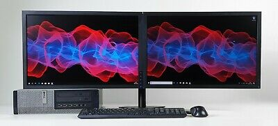 Dell Dual Monitor Screen PC SET Quad i5 Cpu SSD HDD 8-16 GB Windows 10 Wifi DT