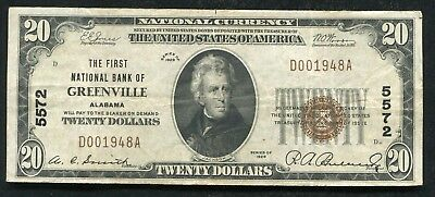 1929  20 The First National Bank Of Greenville  Al National Currency Ch   5572