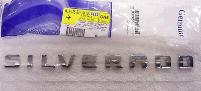 1x  GENUINE Chrome SILVERADO Nameplate Emblem Badge YU 1500 2500HD Chevy OEM
