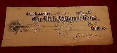 Jan 20  1904 Salt Lake City Utah National Bank Check  22Nd Ward Co Op Lds Mormon