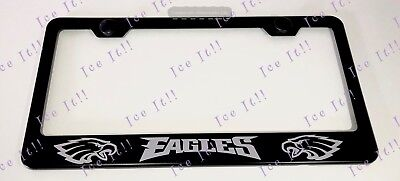 EAGLES Philly NFL Stainless Steel Black License Plate Frame Rust Free Eagles Stainless Steel Plate