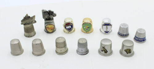 Lot of 13 Metal Thimbles, Souvenirs, Advertising, Elections, Germany, Casino