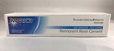 Mark3 Self Adhesive Self Curing Permanent Resin Cement 7ml Syringe 6 Mixing Tips