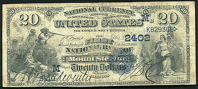 1882 $20 FIRST NATIONAL BANK OF MOUNT STERLING, IL NATIONAL CURRENCY CH. #2402