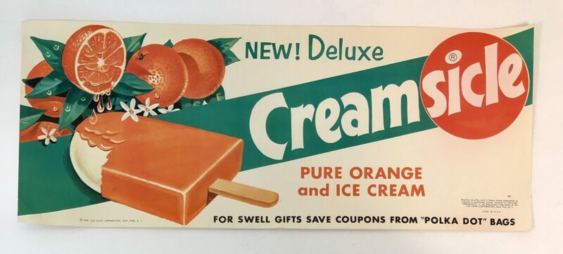 Vintage Ice cream Store Ad Litho Paper Sign 1959 Creamsicle  8 X 20""