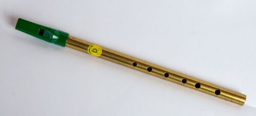 Vintage SOODLUM'S Irish Tin Whistle 6 Hole Brass Plated Ireland