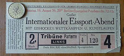 Eintrittskarte Intern. Eissport Abend 1936 Berlin - Eishockey und Kunstlaufen