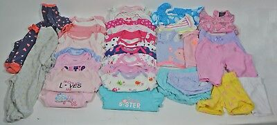 Baby Girl Sz 0 to 3 Months Clothing Lot of 33 Clothes Gerber Onesie Set PJ - Baby Onesies Bulk