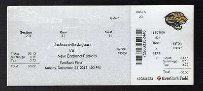Dec 23, 2012 Jacksonville Jaguars Vs New England Patriots Full Ticket Brady 2 TD
