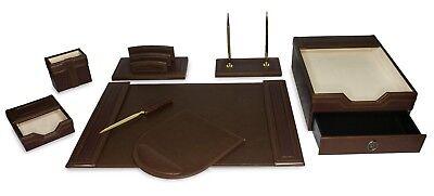 Majestic Goods 8 Piece Brown Executive Office Desk Set