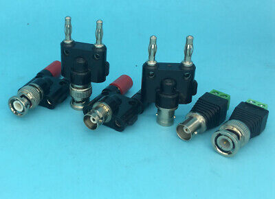 Lot Bnc Malefemale Plug To Twin Dual Banana Femalemale Coaxial 4mm Connector