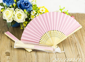10 x Stunning Pink Silk Fans Bridal Wedding Favours Beach Party With Gift Bag