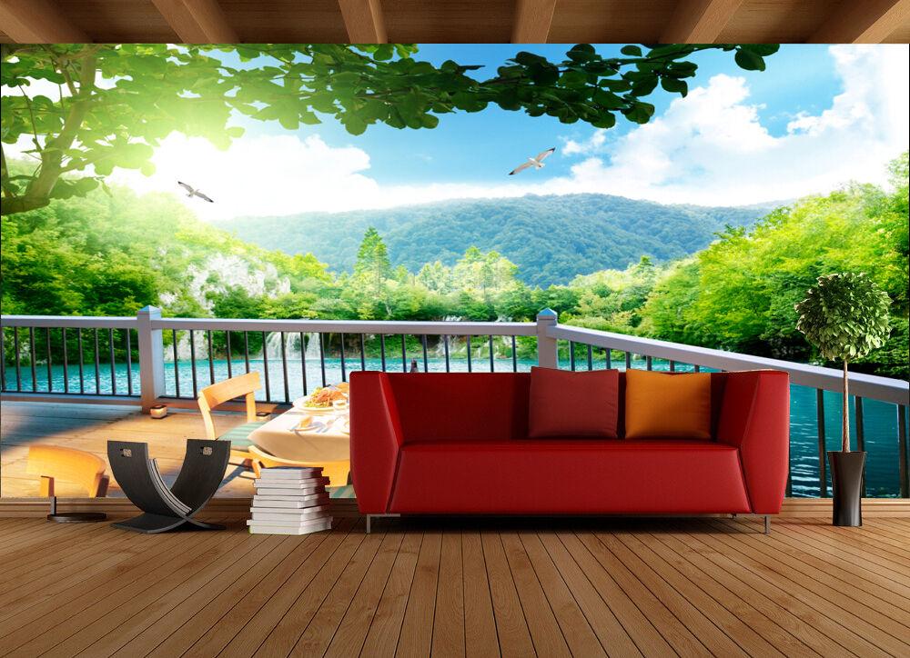 3d terrasse gr n086 fototapeten wandbild fototapete bild tapete familie kinder eur 38 99 - Wandbild familie ...