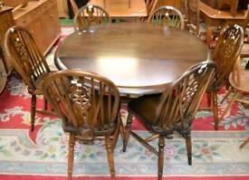Vintage oak dropleaf & 6 chairs