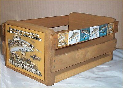 Gift Basket Empty Wood Crate fish Decor Lodge Decoration Gone for Gift Basket #2 - Empty Baskets For Gifts