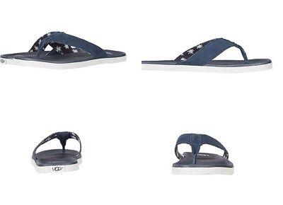UGG Beach Flip Suede Canvas Men's Flip Flops Thongs Imperial Blue Size 10 US for sale  Ventura