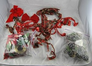 Lot-of-vintage-Christmas-Decorations-Red-Plaid-RIbons-Pine-Cones-Ornaments-o1g1