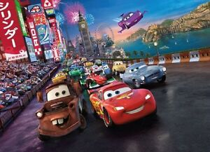 Wall mural photo wallpaper cars 2 disney for kids nursery for Disney pixar cars mural wallpaper