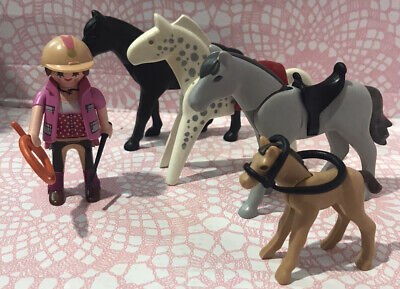 Playmobil 🤎 Horse Bundle ~ Figure, Three Horses & Accessories