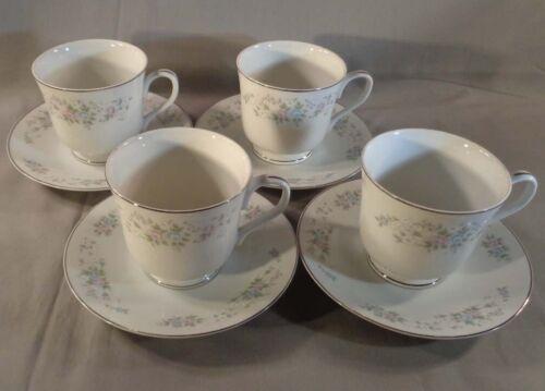 Set of 4 Carlton China Corsage 481 Teacups and Saucers Japan